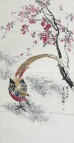 【保真】【郭龙飞】河南省美术家协会会员,是当代青年画家,作品大多被国内民间和国外友好人士收藏、2013年作品《守望》入选河南省新人新作展、三尺花鸟画(100*50CM)3.。