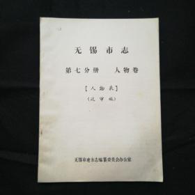 无锡市志 人物卷(送审稿)油印本、一厚册,80年代