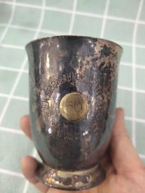 西洋 欧洲古董 德国 餐具 银器 800银杯 镀金 高8cm 直径7cm 104克