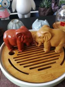 宜兴紫砂清水泥/段泥大象茶宠一对/寓意太平有象,万象更新(图上自用的,发全新品)