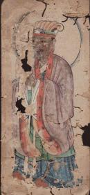 手绘《道教人物画像》移动的壁画、人物描绘栩栩如生、充满着沧桑的残缺美 12