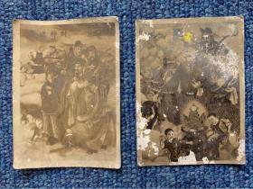 【铁牍精舍】【烟草文献】民国银盐照《财神送宝》烟卡2枚,7.5x5.4cm