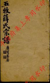 江苏无锡 五牧薛氏宗谱 族谱 家谱 家乘(复印本)