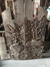 青岛手工雕刻精美老花瓶,花板一对,完整无缺包老