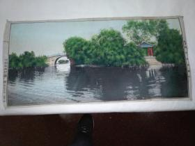 杭州西湖苏堤春晓(早期 丝织 织锦画)27x57厘米
