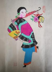 精美布展品!!少见的早期绵竹木版年画版画*南派代表陈云福作品带印章*仕女图之三