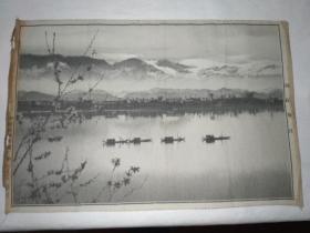 雨后春江(少见 黑白丝织 织锦画)27x40厘米