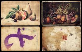 伪满洲国水果明信片  2枚