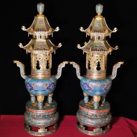 纯铜掐丝景泰蓝大熏香炉一对宽44厘米,高1.06米,一对重100斤