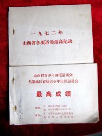 1972年《山西青少年运动会》《一九七二年山西省各项运动最高纪录》