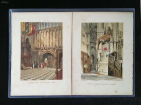 【独自叩门·墨迹·艺术·人文社科】约1850年石版画2张合拍,①《爱德华礼拜堂入口entrance to the chapel of edward the confessor》&②《威斯敏斯特教堂,弗朗西斯·韦尔爵士陵地》(tomb of sir francis vere,in westminster abbey)3525cm