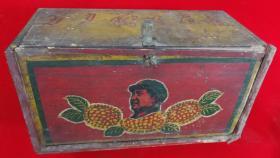 文革手绘毛主席头像葵花题词图案努力办好广播收音机盒子包老少见品种