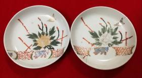 特价民国手绘篱笆花鸟和小狗狗图瓷盘子碟子一对包老少见品种