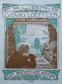 """德国艺术家""""Johann Vincenz Cissarz """"早期套色线刻藏书票—《读书》"""