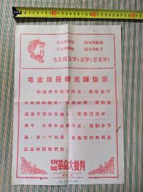 大文革:毛主席最新光辉指示(8开,有毛主席头像林彪口号)