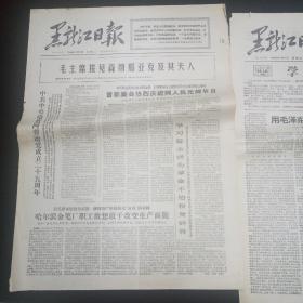 文革老报纸。黑龙江日报。1966年11月8日,9日。两份。