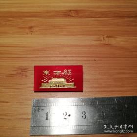 【珍罕 毛主席金色像章】文革毛主席像章  红色 塑料 正面 东方红 及 金色天安门图像