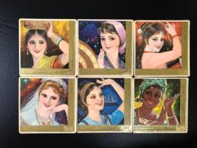 日历卡各国女青年6张 1979