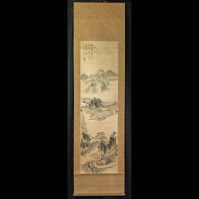 荒木天空 水墨山水图板绫,无轴头,无配盒全体:220×58 cm画芯:146×22 cm