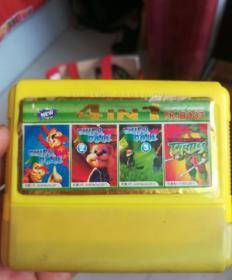 四合一游戏卡带松鼠一代。二代丶三代。忍者神龟四。