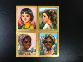 日历卡外国小朋友4张 1979