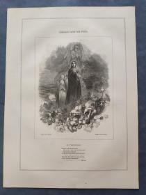 1850年 木口木刻 木版画 (正背印刷)之021号 0605