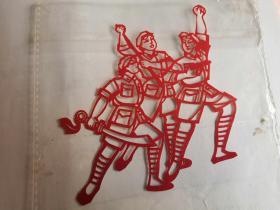 文革:芭蕾舞红色娘子军  刻纸两张8cm×10cm