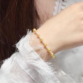 母亲节特惠 天然双色海水珍珠手链