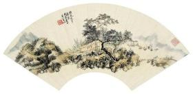 微喷书画 黄宾虹 茆亭清夏图   扇面 50x24厘米