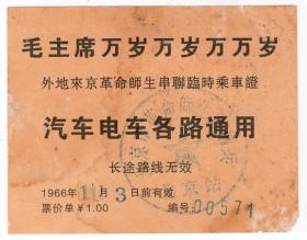 新中国火车票类----1966年