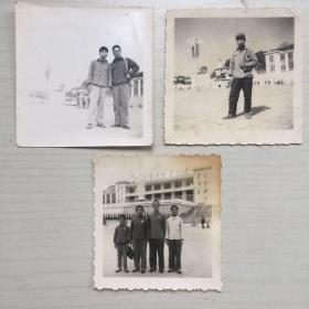 老照片  福州五一广场 毛主席塑像前