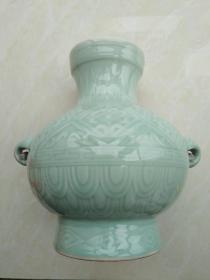 龙泉象耳青瓷樽