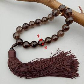 天然原矿巴西水晶咖啡色佛珠念珠十八子手链手串