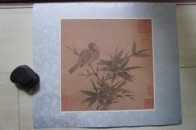 早期木板水印绢本(40*33.5CM):瑶台玩月图