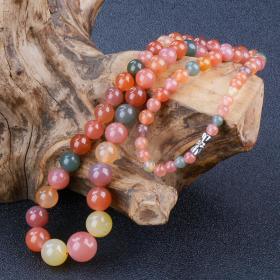纯天然盐源玛瑙项链,多彩盐源玛瑙项链,温润如玉,多彩多色,艳丽好看,收藏之极品