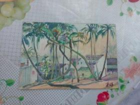 水彩画文献  著名水彩画家朱辉早期习作  70年代作品之一  正反两面都是作品  其中一页时间为74年十月