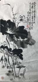 《墨荷》安徽老画家洪国文先生新作、传统功底佳作【45*97cm软片、装裱后更精彩】