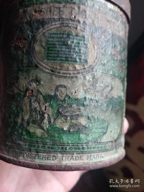 【孤品】民国四年南洋兄弟有限公司大喜牌合和二仙铁盒圆桶烟标(孔网孤品,不退不议)