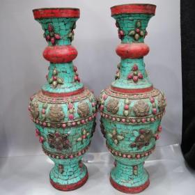铜镶宝石花瓶摆件古玩古董古玩杂项农村收淘老货老物件 尺寸如图,重量2274.1克,