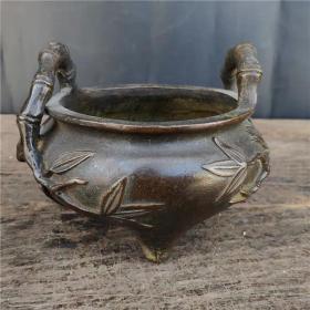 宣德年制黄铜竹子纹香炉