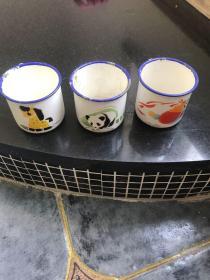 文革儿童搪瓷缸水杯 小马 熊猫 乒乓球拍图案3个合售 建设牌沈阳搪瓷厂出品