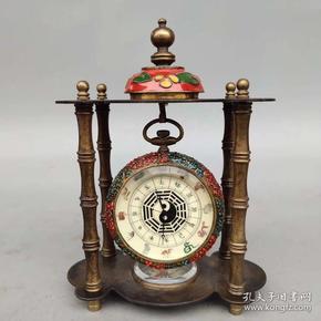 旧藏景泰蓝纯铜   十二生肖八卦机械表   尺寸如图, 重约500克