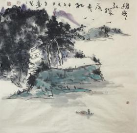【字画真迹】安徽书协会员、中国国画家协会会员,就读于南京艺术学院。画家辛墨 写意 山水画4 《绿尽疏阴落尽红》(68cm×68cm)