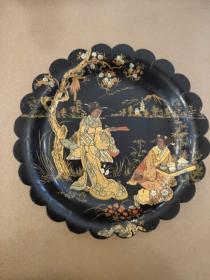 日本 装饰盘 木质 16.5cm