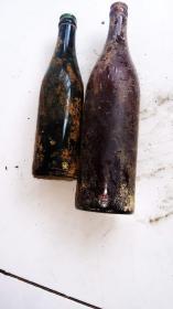 二战遗留日本啤酒瓶子 带铭文 古玩古董红色博物馆真品收藏