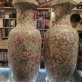 瓷花瓶《百花齐放》一对合售寓意深远,品相完整如图
