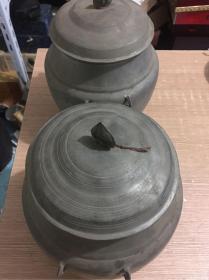 民国四耳老锡罐一对  高约22厘米`直径约17厘米  重2184克,品佳,