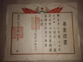 一九五〇年北京市立第五区琉璃寺国民小学毕业证书1950年