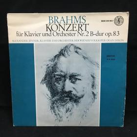 古典音乐黑胶唱片:布拉姆斯作品(2号钢琴协奏曲降B大调)Brahms: KONZERT FÜR KLAVIER UND ORCHESTER Nr.2 B-dur op.83;ALEXANDER JENNER,KLAVIER.DAS ORCHESTER DER WIENER VOLKSOPER.DEAN DIXON 七八十年出版 大33转