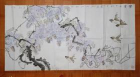 王少强(绍强)《紫云》,四尺整张花鸟画,画的很好!紫气东来!寓意吉祥!